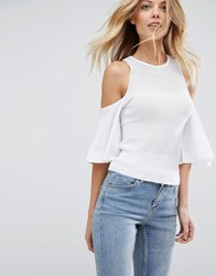 Asos Jumper With Mesh Cold Shoulder White Red