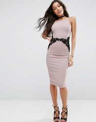 Asos Textured Pencil Dress With Lace Waist Mink Pink
