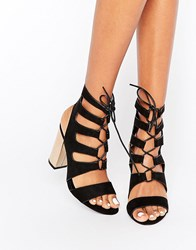 New Look Metallic Heel Lace Up Sandal Black
