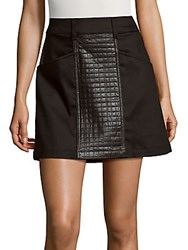 7 For All Mankind Leather Paneled A Line Skirt Black