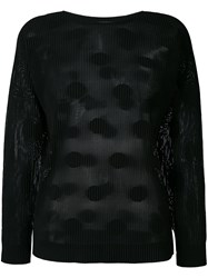 Issey Miyake Cauliflower Ribbed Polka Dot Sweater Women Polyester One Size Black