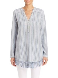 Calypso St. Barth Evsiba Striped Linen Fringe Tunic Revival