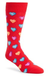 Hot Sox Men's Candy Hearts Socks Red