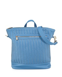Neiman Marcus Woven Faux Leather Backpack Denim Blue