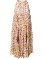 Giambattista Valli Floral Printed Maxi Skirt Pink And Purple