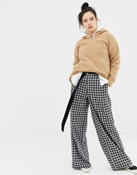 Daisy Street Wide Leg Trousers In Grid Check Black And White
