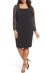 London Times Plus Size Women's Lace And Shutter Pleat Jersey Sheath Dress