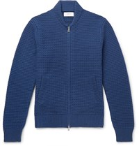 Mr P. Waffle Knit Wool And Cashmere Blend Bomber Jacket Blue