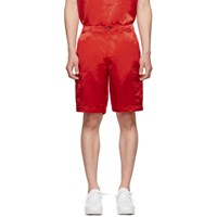 Sies Marjan Red Washed Satin Elias Cargo Shorts