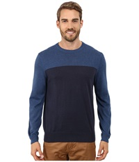 Perry Ellis Color Block Crew Beck Sweater Denim Heather Men's Sweater Blue