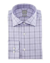 Ike Behar Large Windowpane Check Woven Dress Shirt Lavender Navy Purple Navy