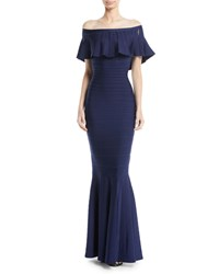 Herve Leger Off The Shoulder Trumpet Bandage Evening Gown W Ruffled Overlay Navy