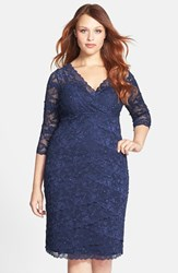 Plus Size Women's Marina Embellished Three Quarter Sleeve Lace Dress