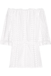 Miguelina Tabitha Off The Shoulder Crochet Paneled Cotton Voile Dress White