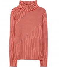 Carven Striped Wool Turtleneck Sweater Red