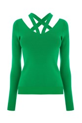 Warehouse Cut Out V Neck Jumper Green