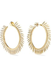 Ileana Makri Grass Sunny 18 Karat Gold Diamond Hoop Earrings One Size