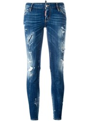 Dsquared2 Flare Distressed Stonewash Jeans Blue