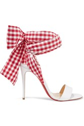 Christian Louboutin Sandale Du Desert 100 Leather And Gingham Canvas Sandals White Gbp