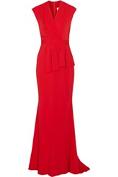 Badgley Mischka Pleated Wrap Effect Cady Gown Red