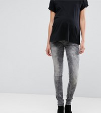 Mamalicious Slim Jeans With Bump Band Grey Denim