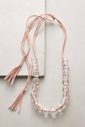 Anthropologie Beaded Lucite Necklace Pink