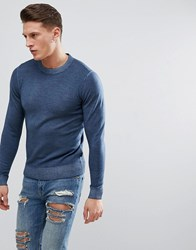 Ted Baker Crew Neck Knit Jumper In Wool Mid Blue