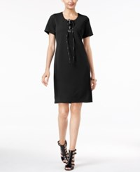 Ny Collection Faux Leather Lace Up Shift Dress Night Dune