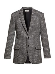 Saint Laurent Single Breasted Striped Wool Jacket Black