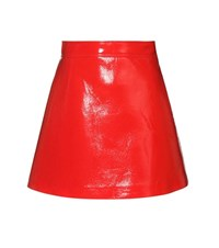 Miu Miu Faux Leather Miniskirt Red