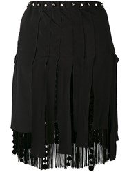 N 21 No21 Fringed Mini Skirt Women Silk Polyester Acetate Viscose 42 Black