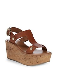 Frye Dahlia Rivet Leather Wedge Sandals Caramel