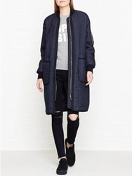 Whistles Lini Quilted Longline Coat Navy