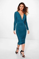 Boohoo Slinky Ruched Side Wrap Midi Dress Teal