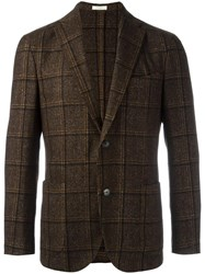 Boglioli Patch Pockets Plaid Blazer Brown