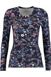 Lucas Hugh Inca Printed Stretch Jersey And Mesh Top Midnight Blue