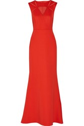 Mikael Aghal Tulle Paneled Stretch Crepe Gown Red