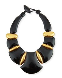 Viktoria Hayman Bellissima Resin Statement Necklace Black Gold