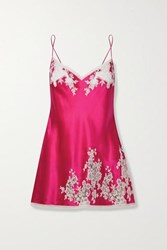 Carine Gilson Chantilly Lace Trimmed Silk Satin Chemise Bright Pink