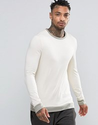 Asos Muscle Long Sleeve T Shirt With Contrast Rib Hem And Cuffs Off White Grey Cream