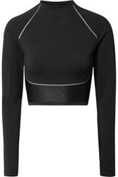 Nike City Ready Cropped Paneled Neoprene And Stretch Top Black