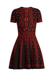 Alexander Mcqueen Floral Intarsia Knit Dress Black Red