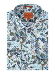 Simon Carter Men's Jungle Print Moore Shirt Blue