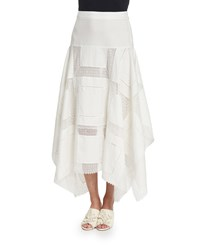 Derek Lam Embroidered Handkerchief Midi Skirt White Size 31 Silk White