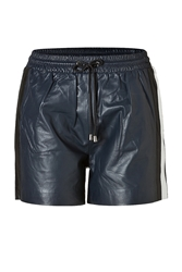 Jonathan Simkhai Leather Side Stripe Shorts In Navy