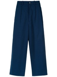 A La Garconne Straight Cropped Trousers Cotton Polyester Spandex Elastane Blue