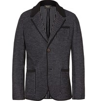 Berluti Black Unstructured Knitted Wool Blazer Black