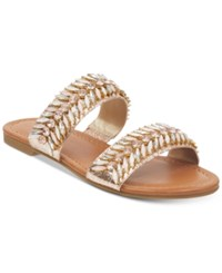 G By Guess Luxeen Flat Sandals Women's Shoes Rose Pink Multi Natural