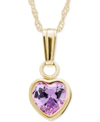 Macy's Children's Purple Crystal Heart Pendant Necklace In 14K Gold