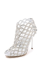 Sergio Rossi Mermaid Cage Booties Silver